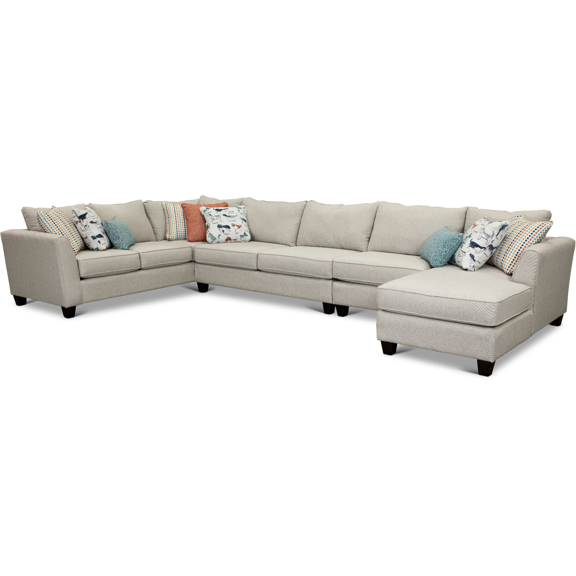 Stone 4 Piece Sectional Sofa with RAF Chaise - Homecoming ...