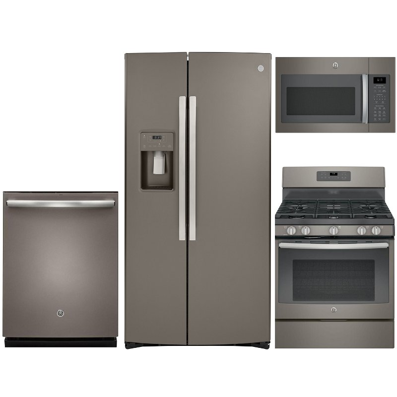 GE 4 Piece Gas Kitchen Appliance Package with Side by Side Refrigerator -  Slate Stainless Steel