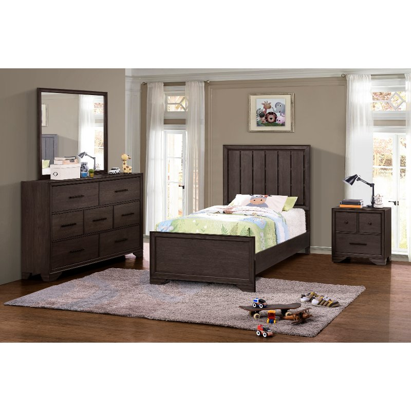 Contemporary Brown 4 Piece Twin Bedroom Set - Granite Falls