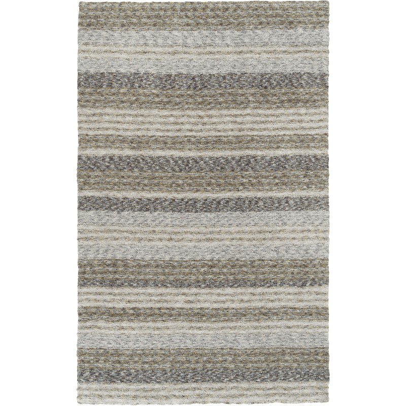 Striped Shag Pewter Gray Area Rug