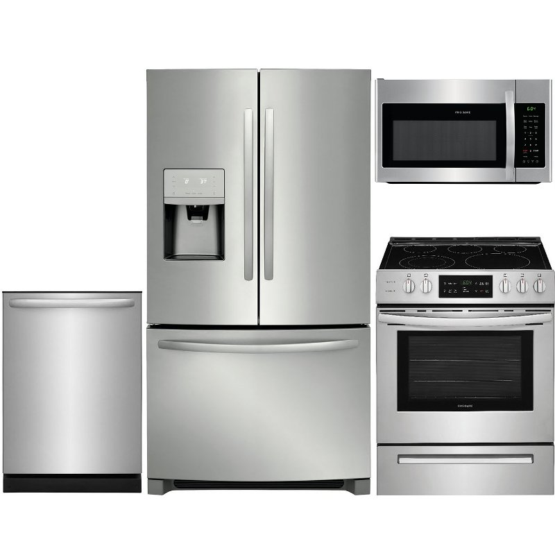 Frigidaire 4 Piece Electric Kitchen Appliance Package with 26.8 cu. ft.  French Door Refrigerator - Stainless Steel