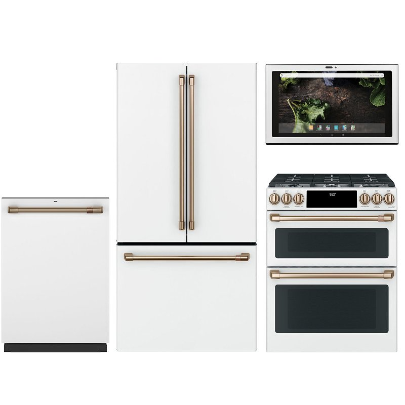 Cafe 4 Piece Gas Kitchen Appliance Package With Dual Fuel Range White Rc Willey Furniture Store
