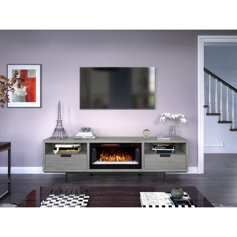 huge selection of c5ba3 2ef9f 78 inch Modern Gray Fireplace TV Stand - Wynwood