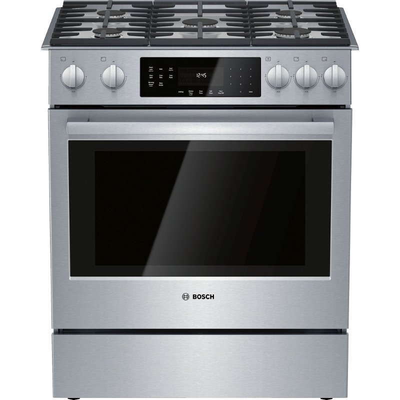 Bosch 30 Inch Slide In Gas Range 4 8 Cu Ft Stainless Steel Rc Willey Furniture Store