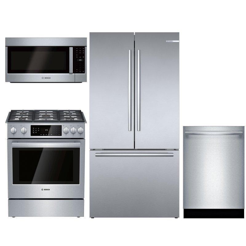 Bosch 4 Piece Gas Kitchen Appliance Package With Counter