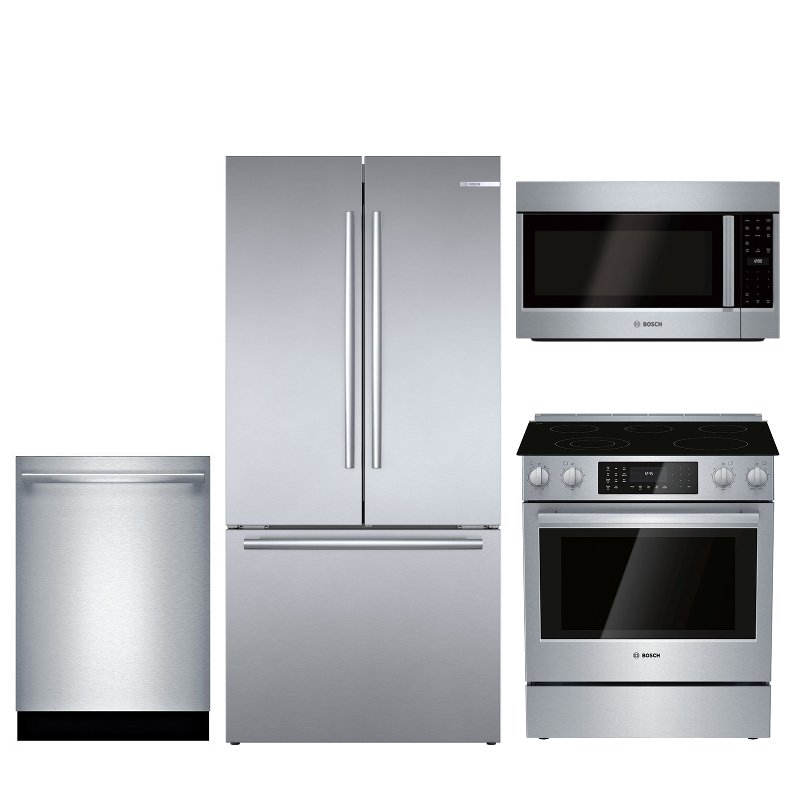 Bosch 4 Piece Electric Kitchen Appliance Package With Counter Depth Refrigerator Stainless Steel Rc Willey Furniture Store