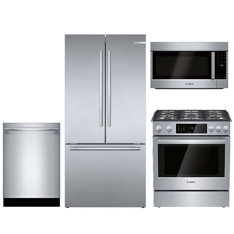 Bosch 4 Piece Dual Fuel Kitchen Appliance Package With Counter Depth Refrigerator Stainless Steel