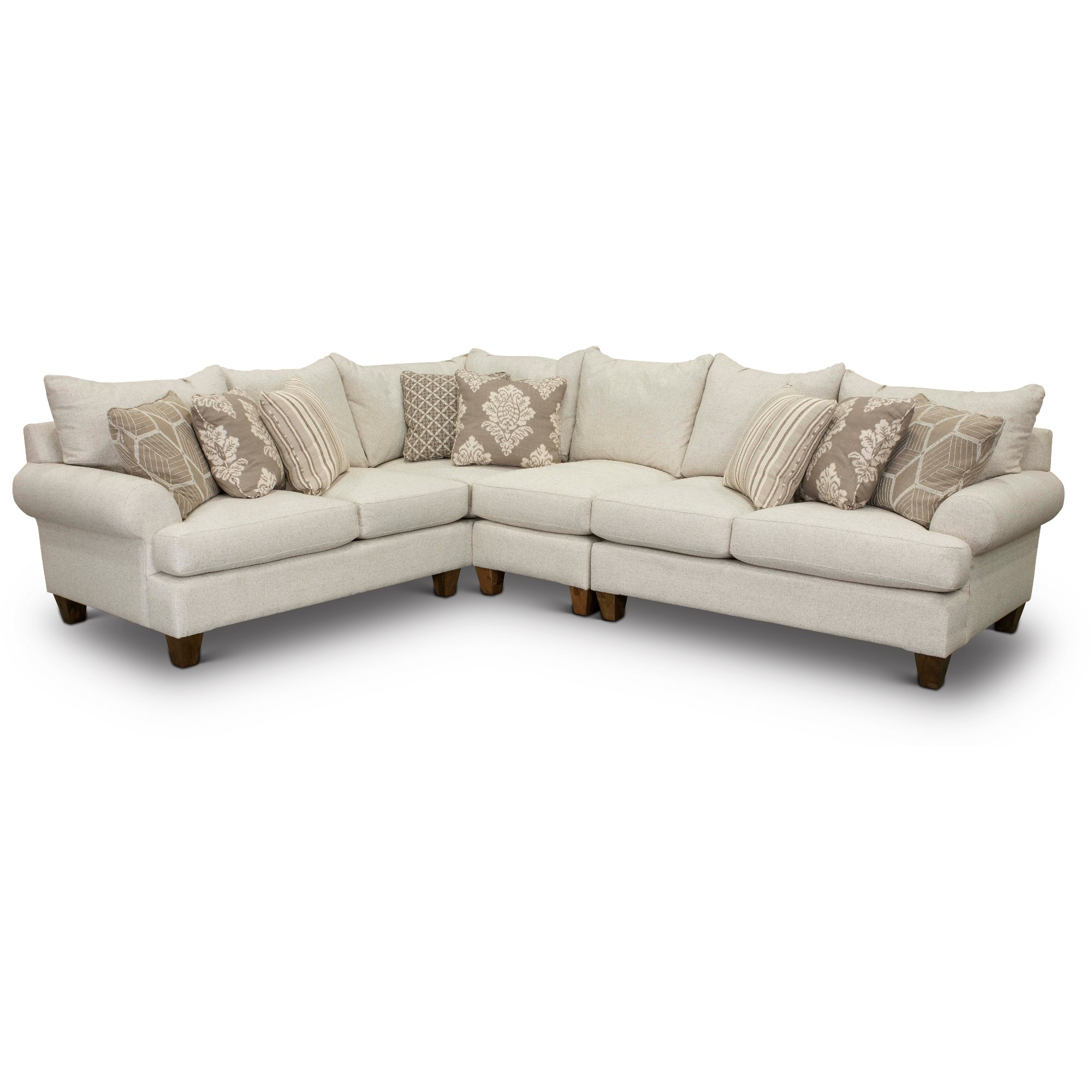 Linen Beige 3 Piece Sectional Sofa With