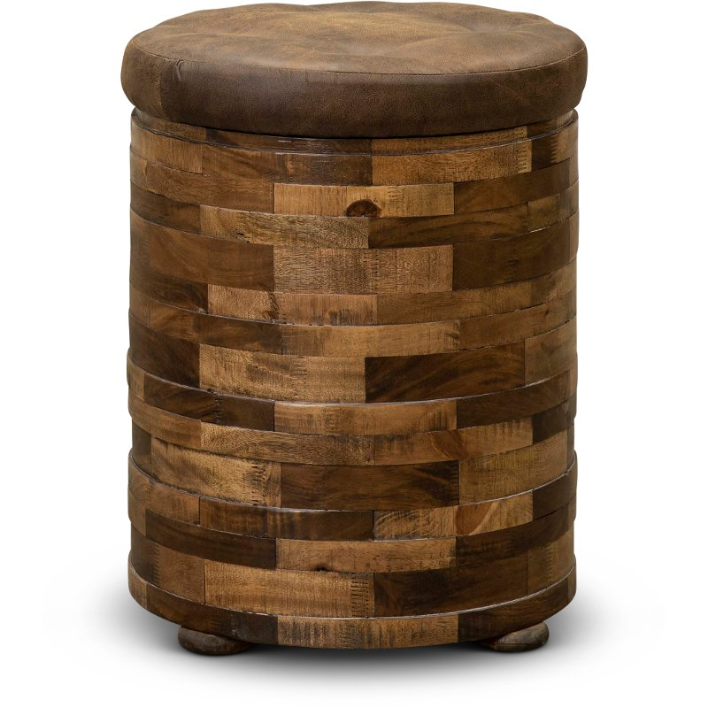 Mixed Wood And Faux Leather Chairside Table Maya Rc