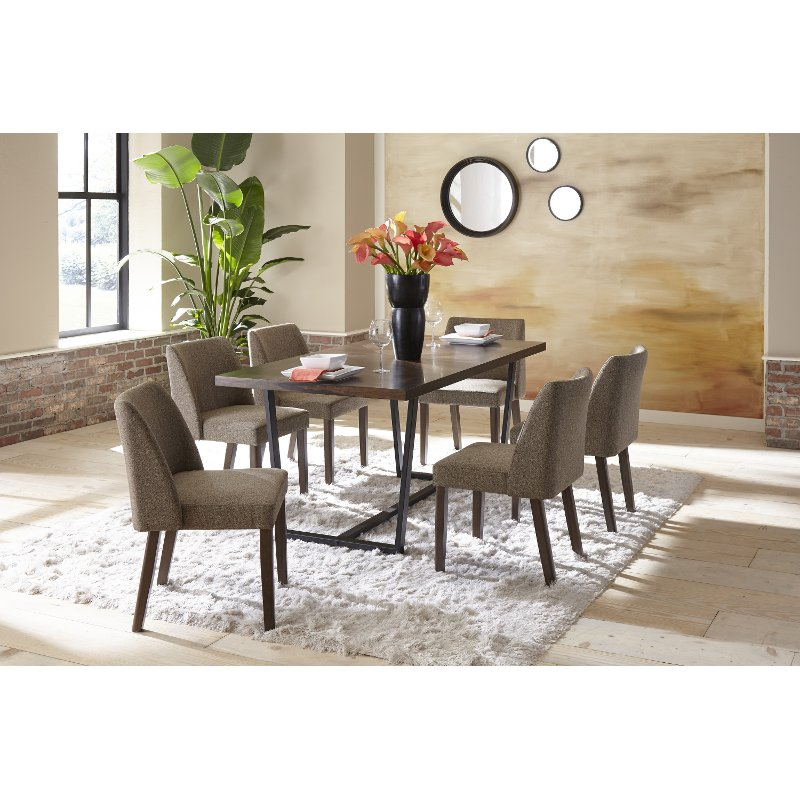 Industrial Brown And Metal 5 Piece Dining Set Leland Rc Willey Furniture Store