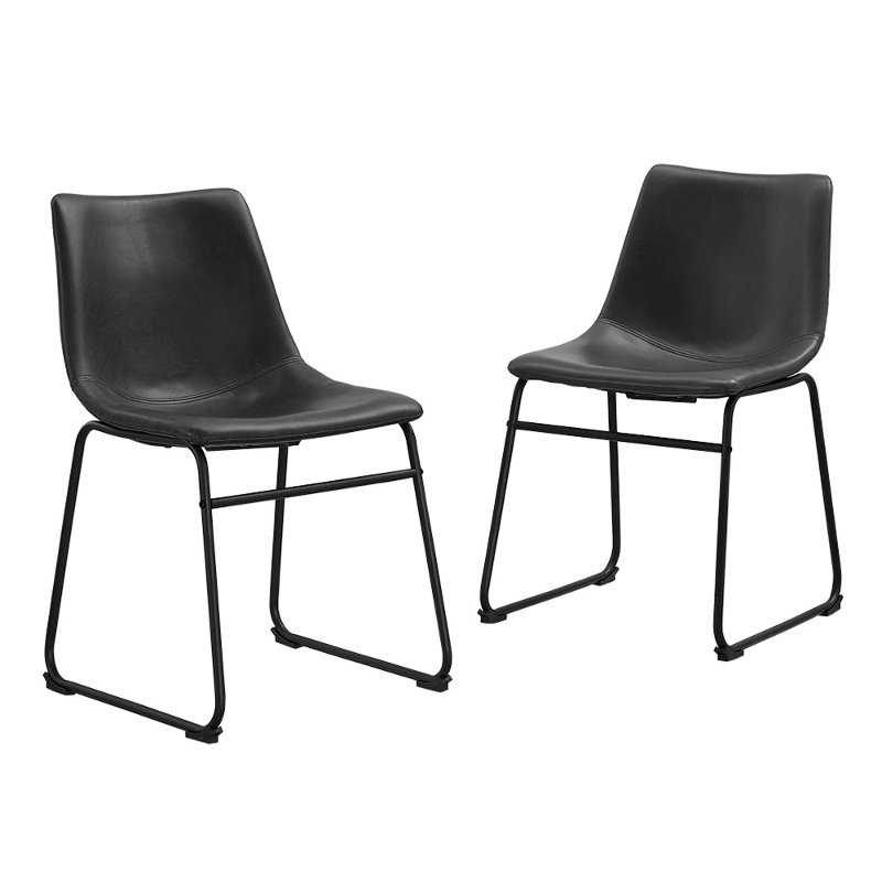 Industrial Black Faux Leather Dining, Black Leather Dining Room Chairs