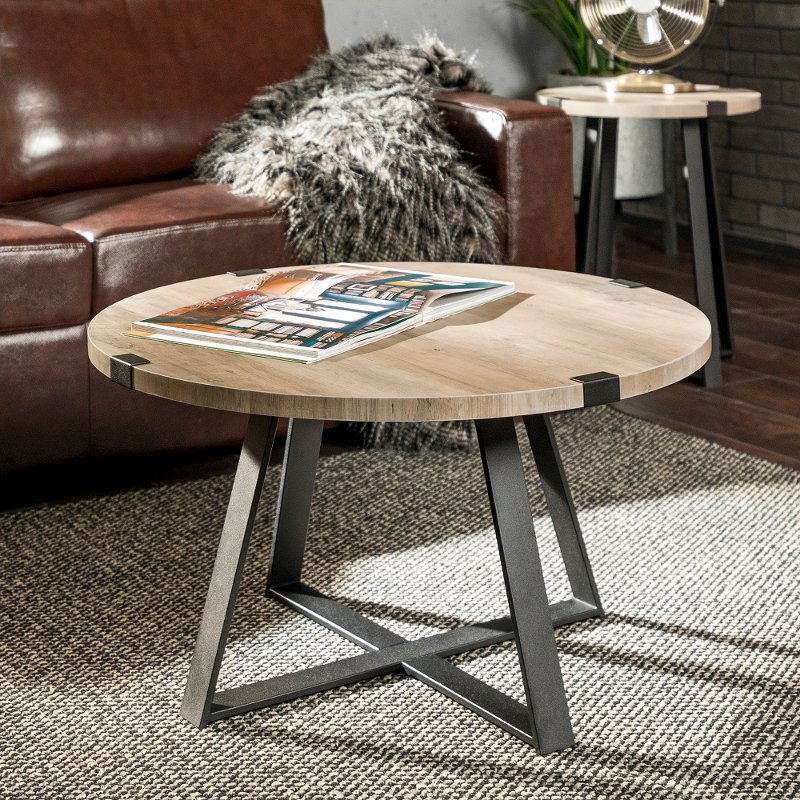 Rustic Round Coffee Table Grey Wash Black