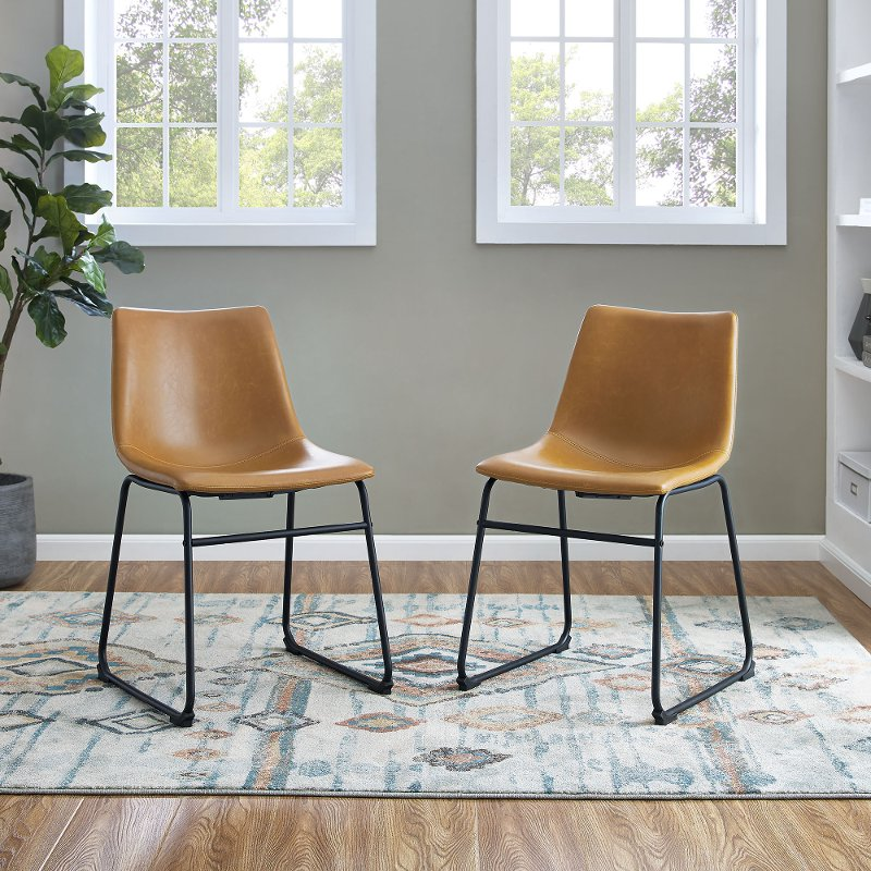Industrial Light Brown Faux Leather Dining Room Chair (Set of 2)