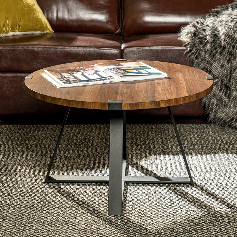 Rustic Round Coffee Table Dark Walnut Black