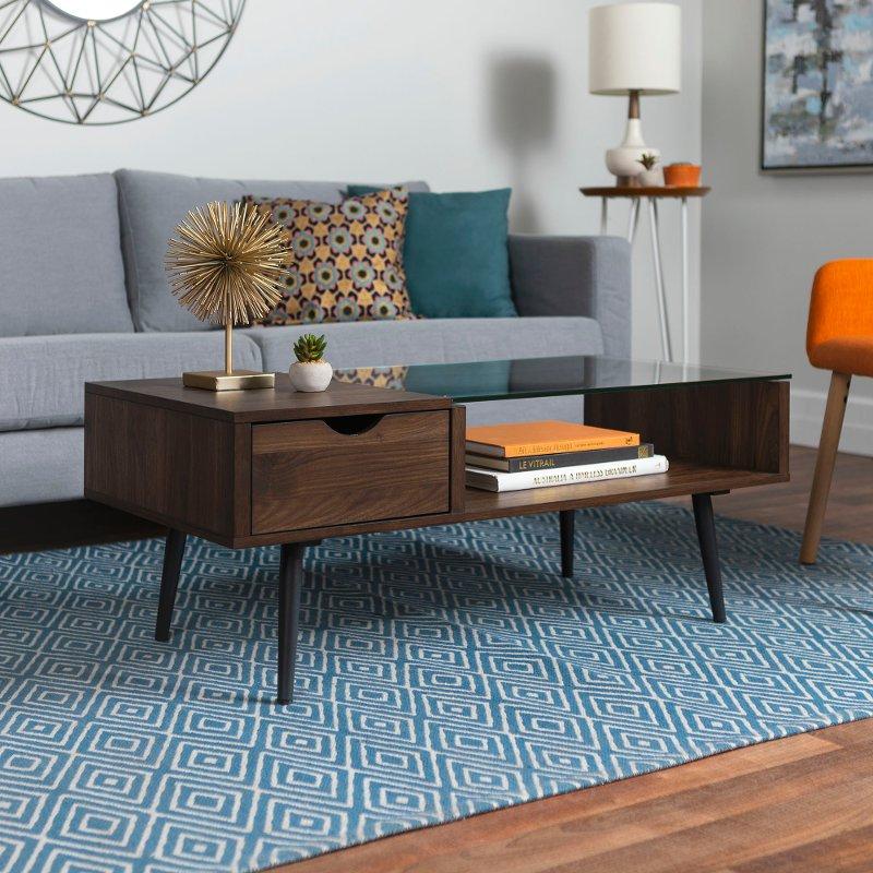 Mid Century Modern Sofas: Mid Century Modern Wood Coffee Table - Dark Walnut