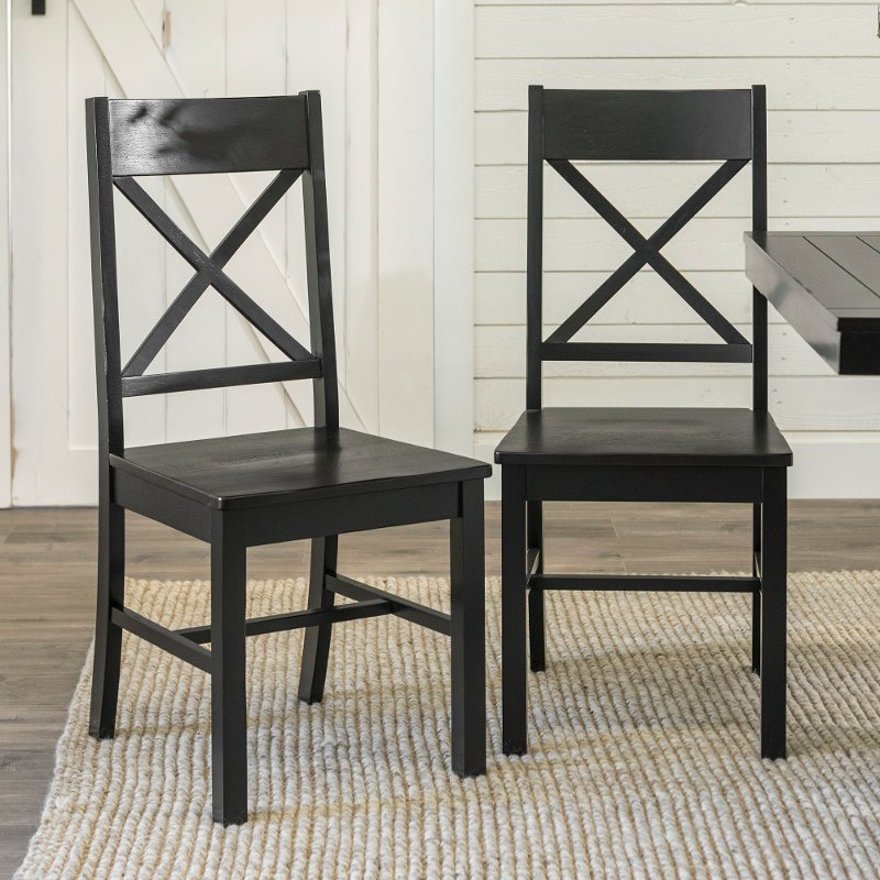 Antique Black Dining Room Chairs (Set of 2)