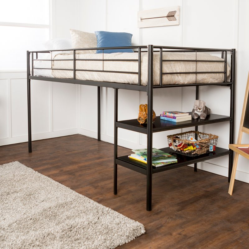 Contemporary Black Twin Low Loft Bed - Sunset