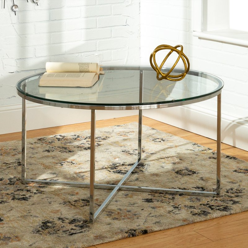 Mid Century Modern Coffee Table Glass Chrome Rc Willey