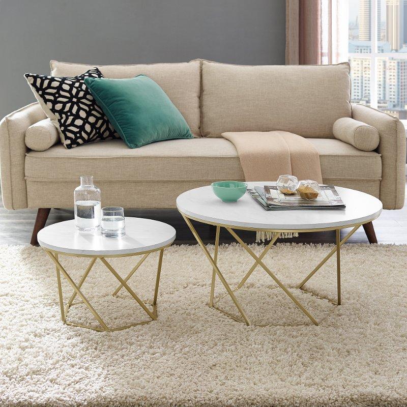 Modern Nesting Coffee Table Set White