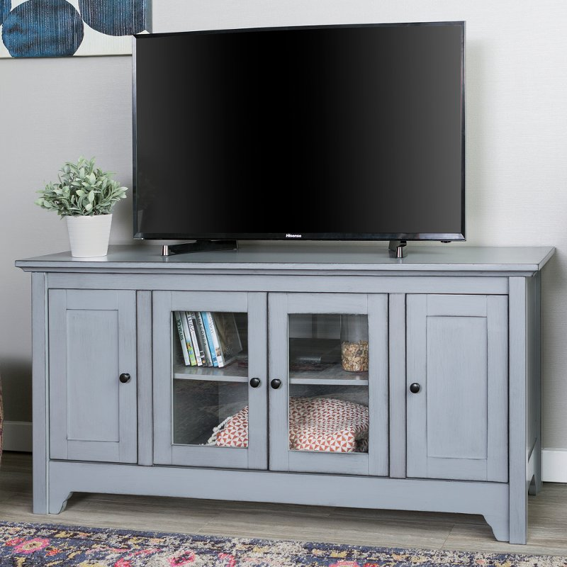 52 Inch Transitional Wood Glass Tv, Glass Tv Console