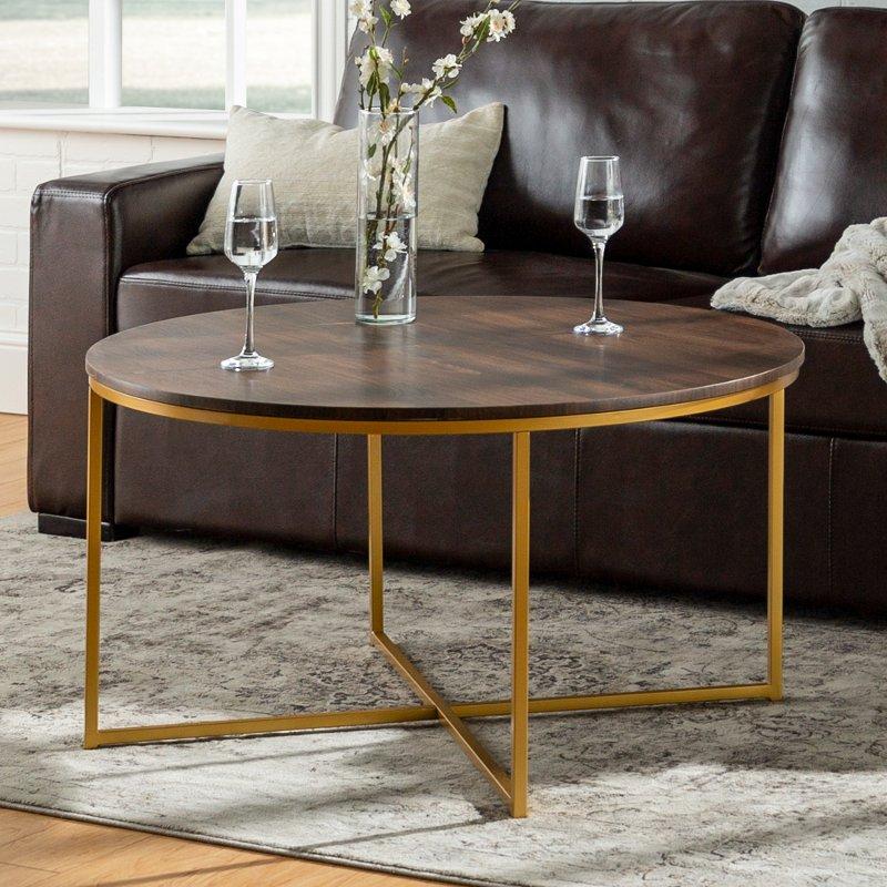 Mid Century Modern Round Coffee Table Dark Walnut Gold Rc Willey Furniture Store