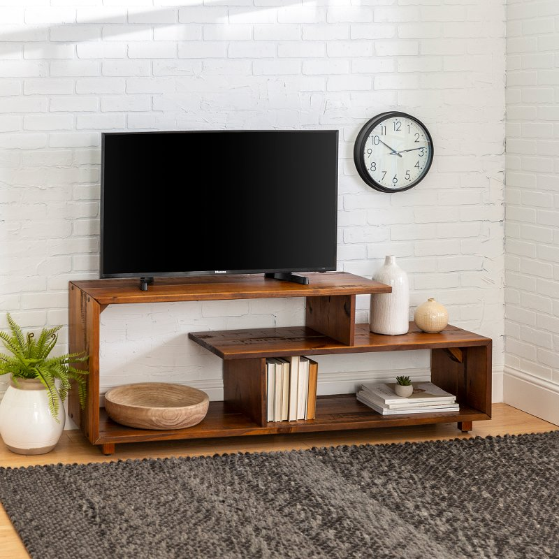 60 Inch Rustic Modern Solid Wood Tv, Rustic Modern Furniture