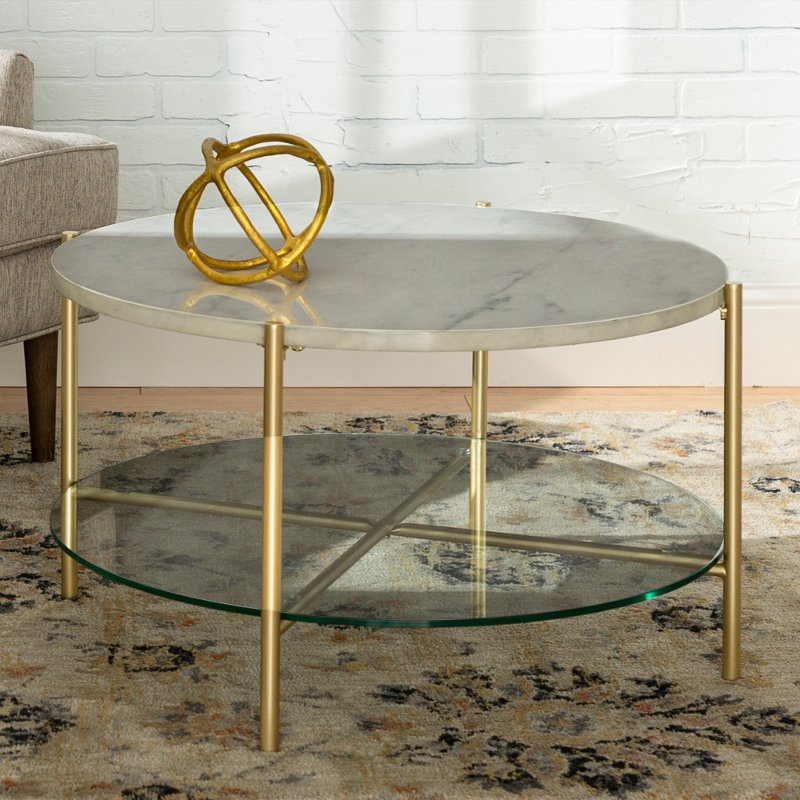 Modern Round Coffee Table White Marble Top Glass Shelf Gold