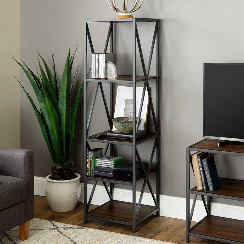 61 Inch Metal Wood Bookcase Dark Walnut Rc Willey Furniture Store