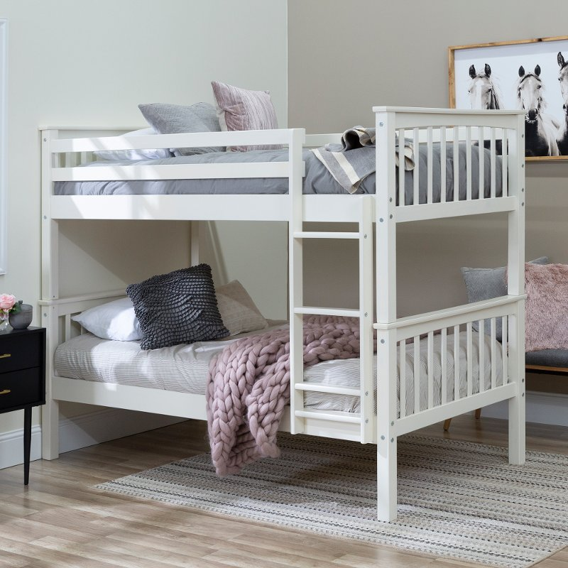 Mission White Twin Over Twin Bunk Bed Rc Willey