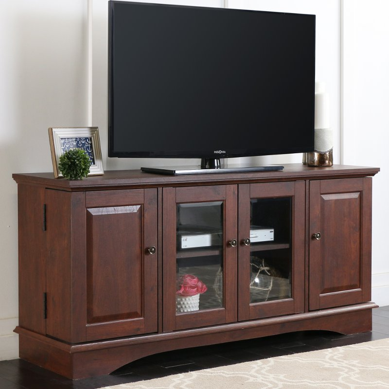 52 Inch Traditional Wood Tv Stand Brown Rc Willey Furniture Store