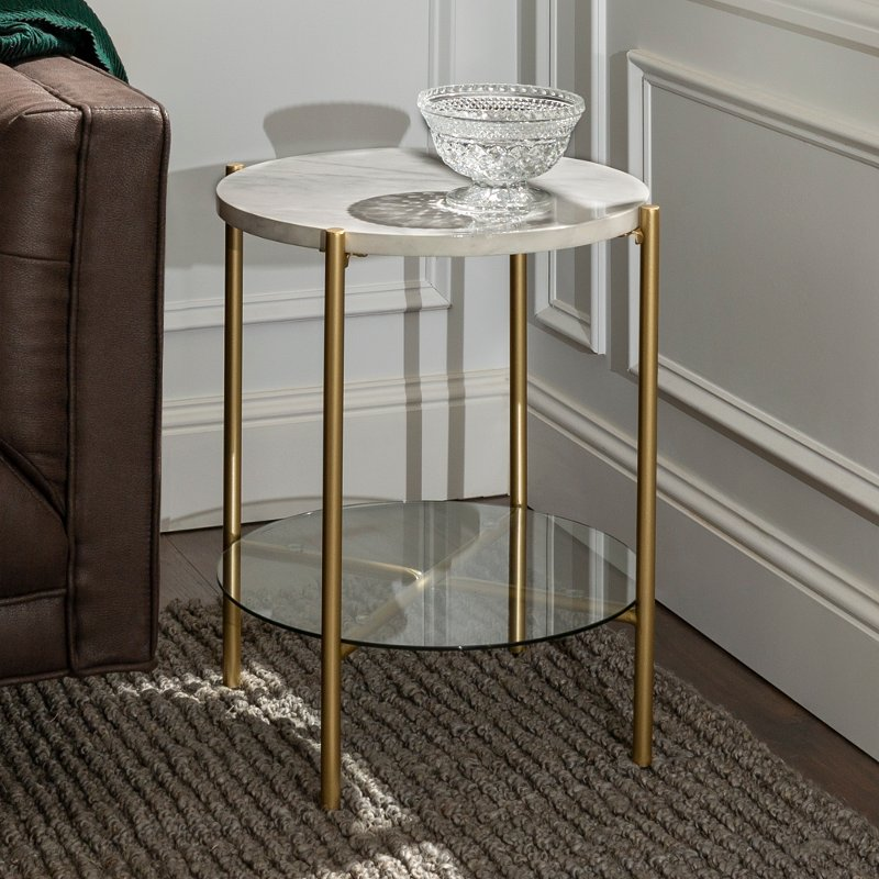 Modern Round Side Table White Marble Gold Rc Willey