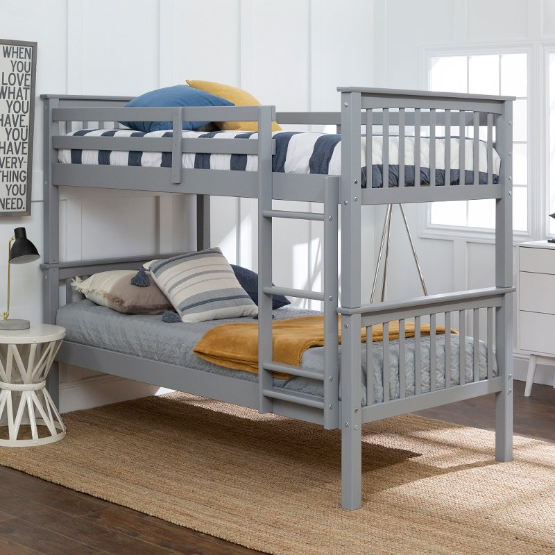 Mission Gray Twin Over Twin Bunk Bed Rc Willey Furniture Store