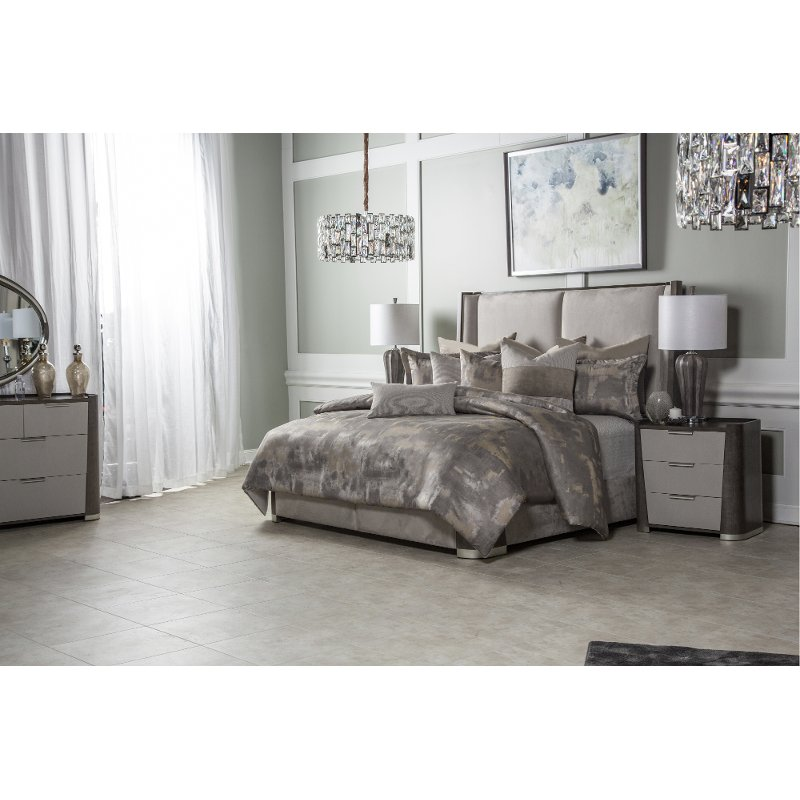 Aubrey Gray And Taupe Queen 9 Piece, Grey King Size Bedding Next