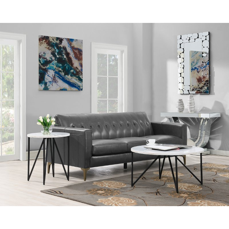 Contemporary Round Marble Coffee Table
