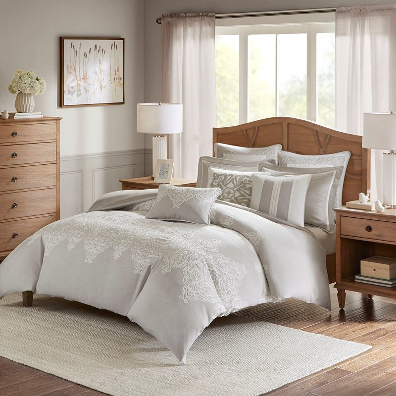 Taupe Tan And Ivory Queen Barely There, Madison Park Bedding Lyla