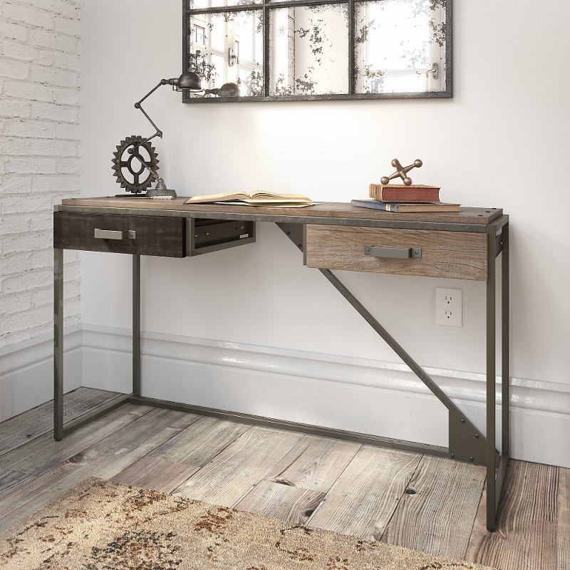 Rustic Gray Console Table With Drawers, Sofa Table Desk With Drawers