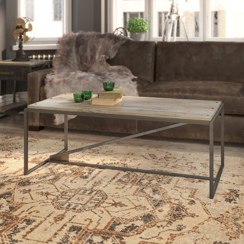Gray Rustic Coffee Table With Metal Base Refinery Rc Willey Furniture Store