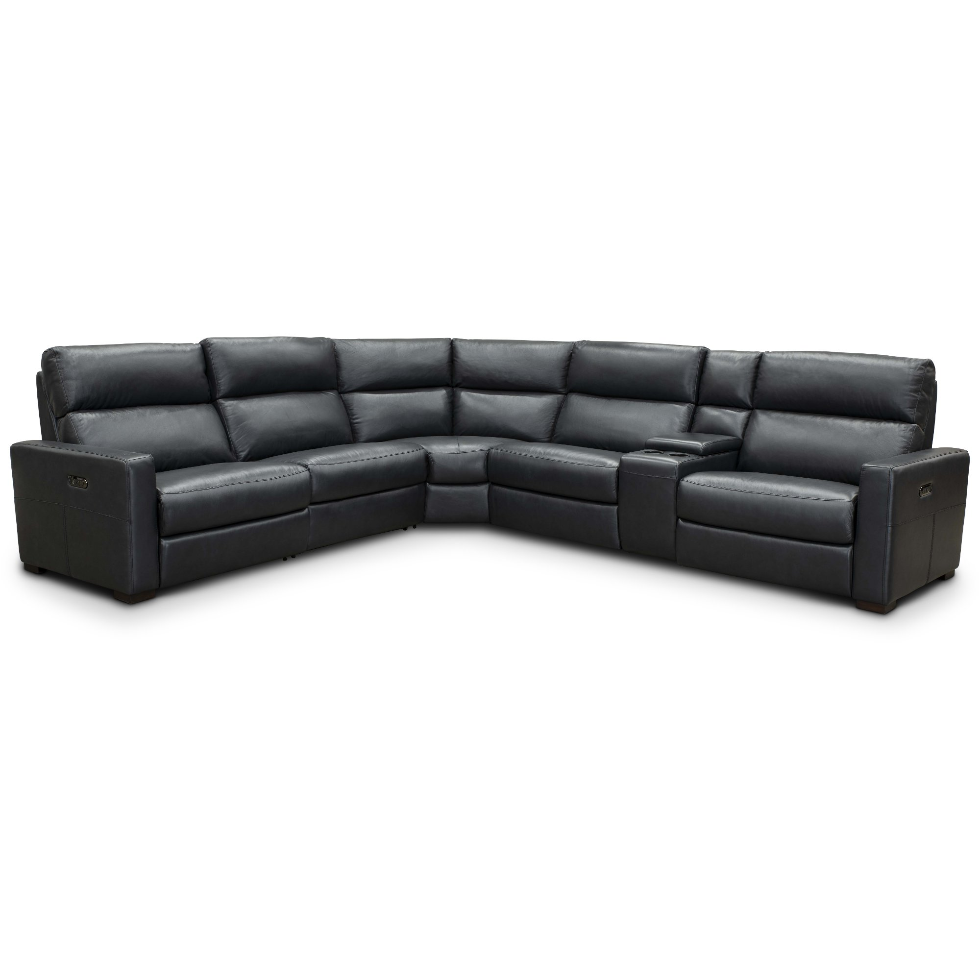 Navy Blue Leather-Match Power Reclining Sectional Sofa - Angler