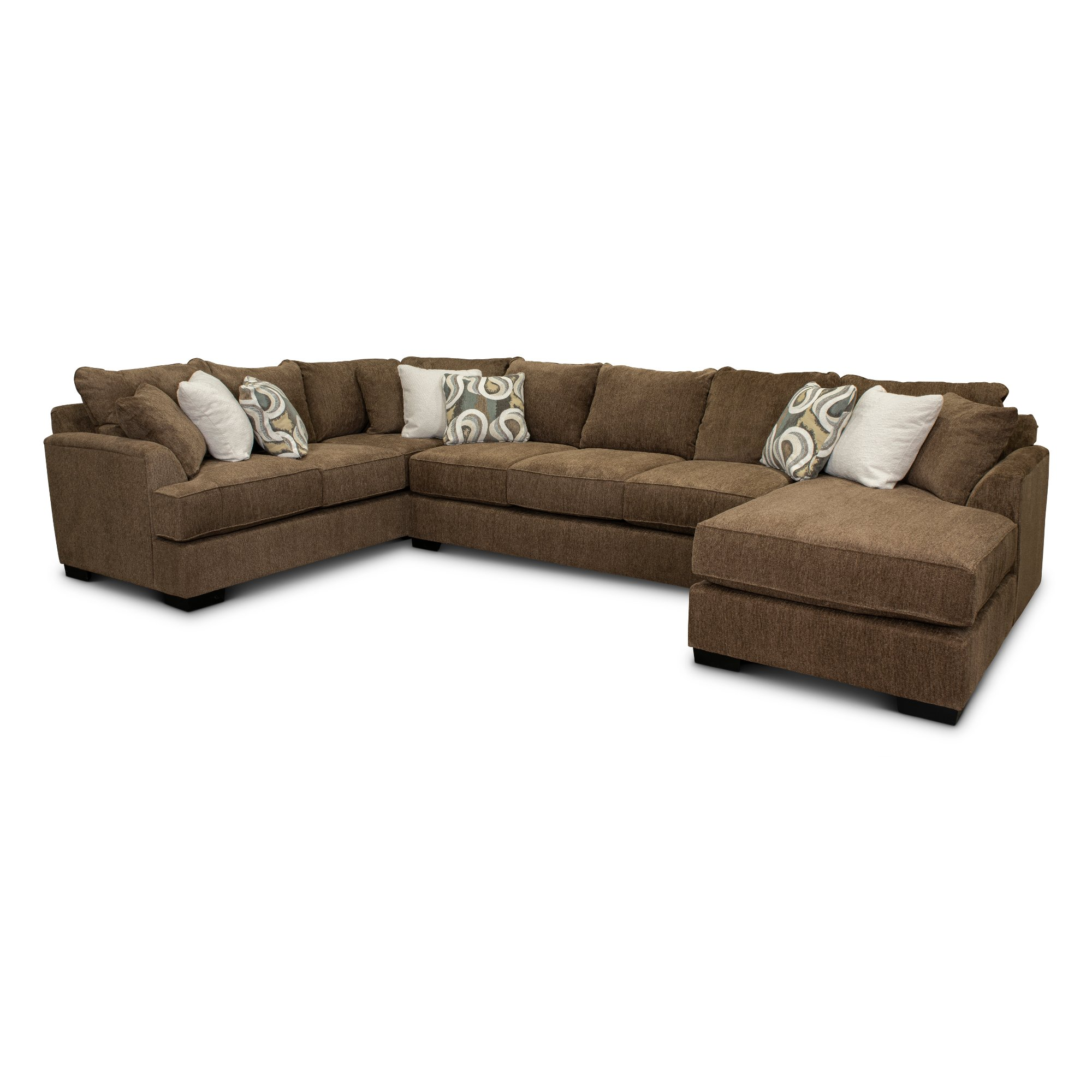 Brown 3 Piece Sectional Sofa With Raf