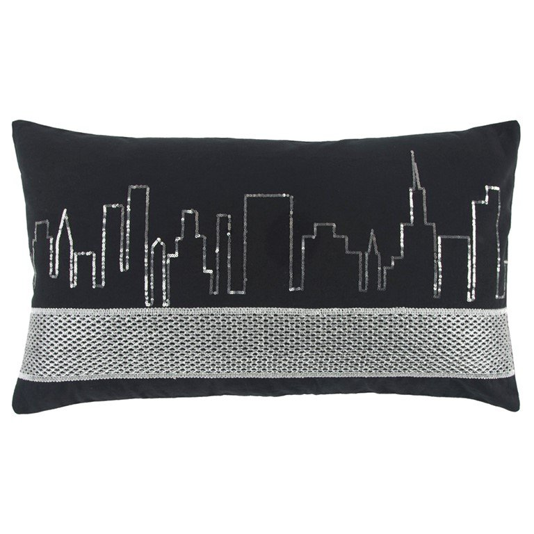 Super Black Cityscape Rectangular Throw Pillow Caraccident5 Cool Chair Designs And Ideas Caraccident5Info