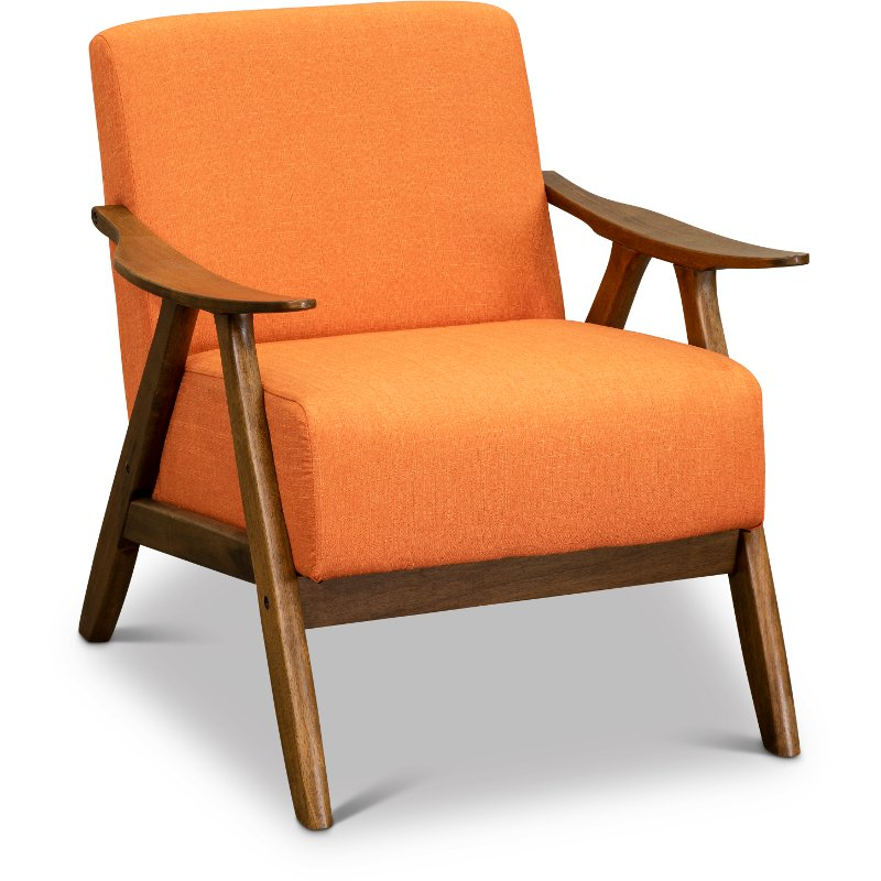 Pleasing Orange Modern Accent Chair With Exposed Wood Frame Damala Squirreltailoven Fun Painted Chair Ideas Images Squirreltailovenorg