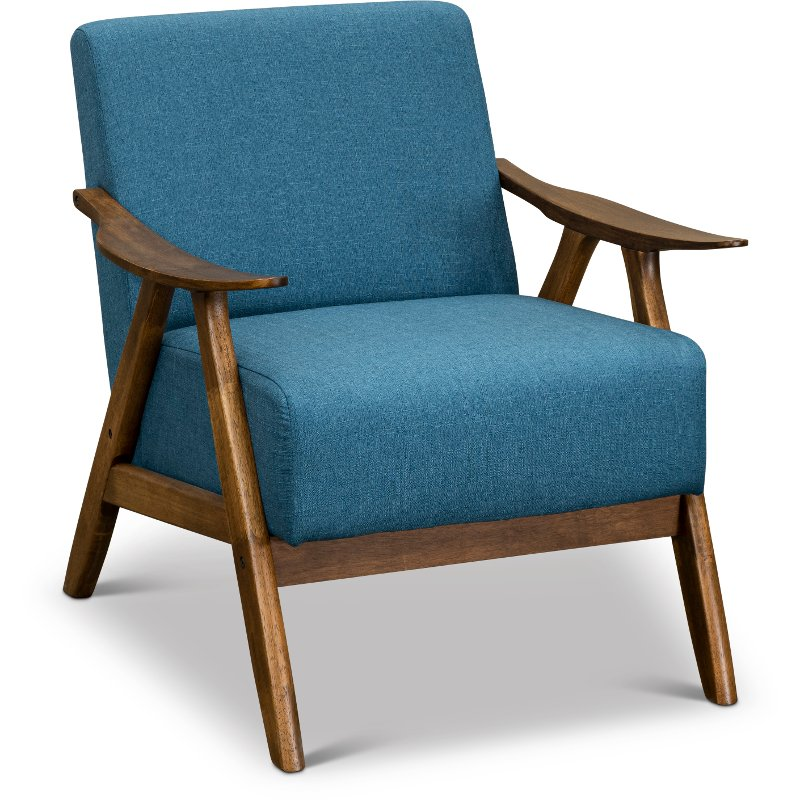Modern Blue Accent Chair With Exposed Wood Frame Damala Rc Willey Furniture Store