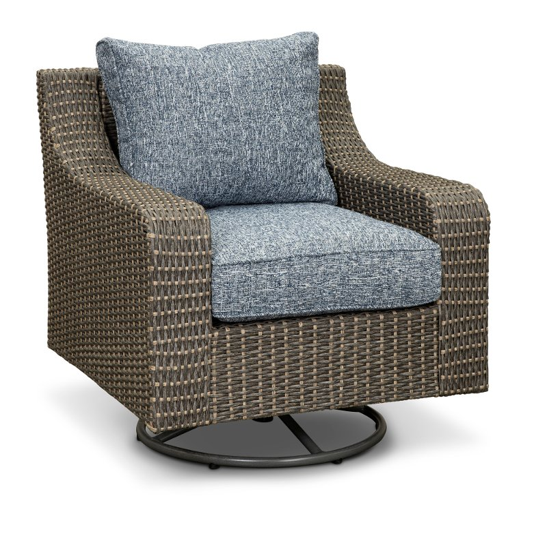 Gray Wicker Patio Swivel Chair Lemans, Gray Wicker Patio Furniture
