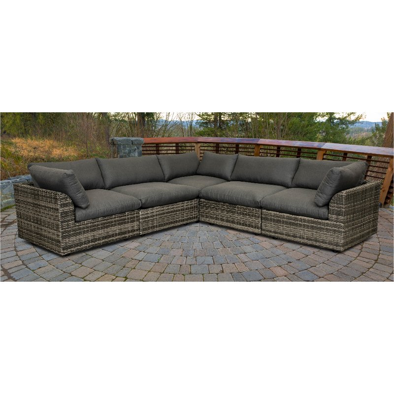 Gray 5 Piece Patio Sectional Cirrus Rc Willey Furniture Store