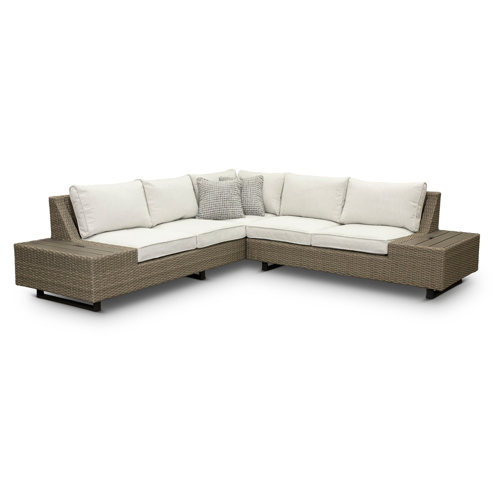 Taupe Left Facing Patio Sofa With