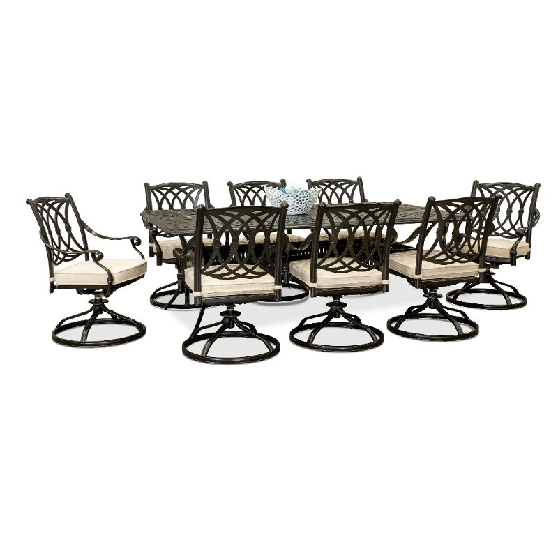 9 Piece Patio Table With Swivel Chairs, Patio Furniture Table And Chairs