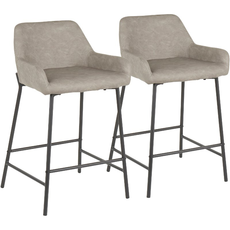 Terrific Gray And Black Faux Leather Counter Height Stool Set Of 2 Daniella Cjindustries Chair Design For Home Cjindustriesco