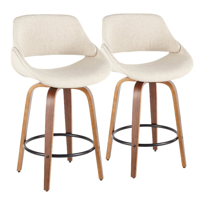 Marvelous Cream And Brown 26 Inch Counter Height Stool Set Of 2 Fabrico Cjindustries Chair Design For Home Cjindustriesco