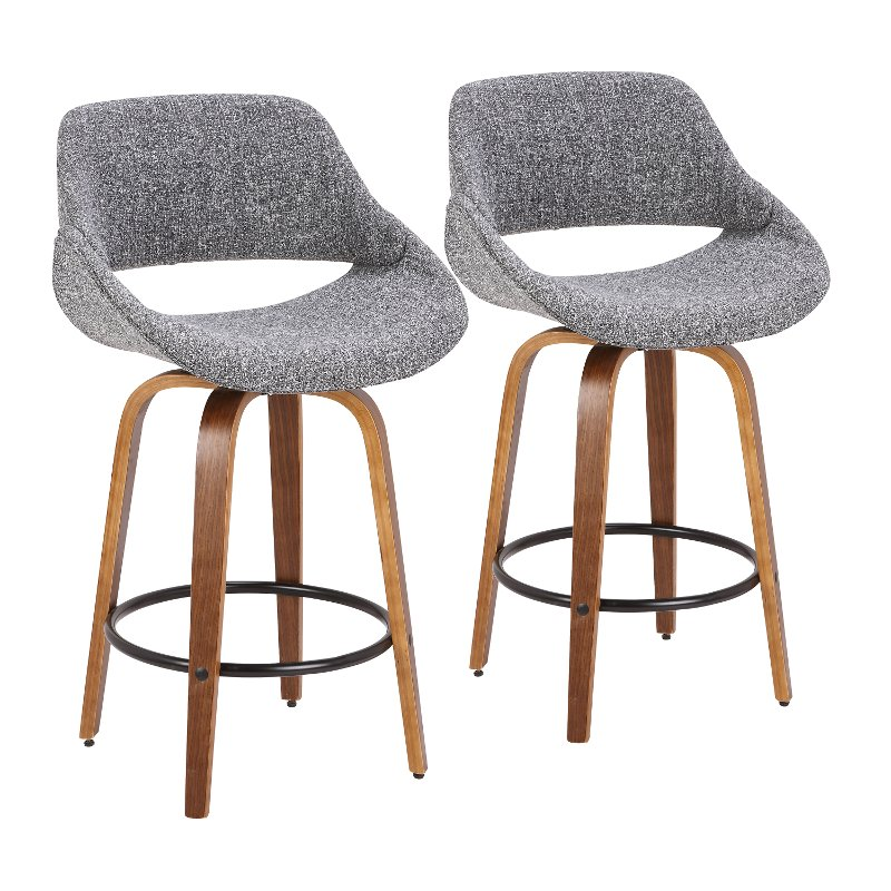 Super Gray And Brown 26 Inch Counter Height Stool Set Of 2 Fabrico Cjindustries Chair Design For Home Cjindustriesco