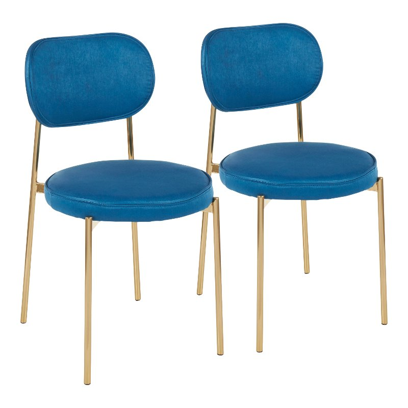 Contemporary Blue And Gold Dining Room Chair Set Of 2 Chloe